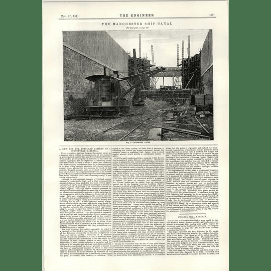 1891 Excavator At Work Latchford Locks Portland Cement Cogging Mill Newburn