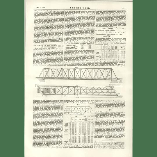 1891 Proposed Royal Exchange Waterloo Railway Bridge Failure Moenchenstein