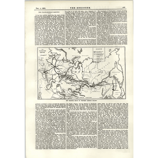 1891 Proposed Route Of Siberian Railway Map
