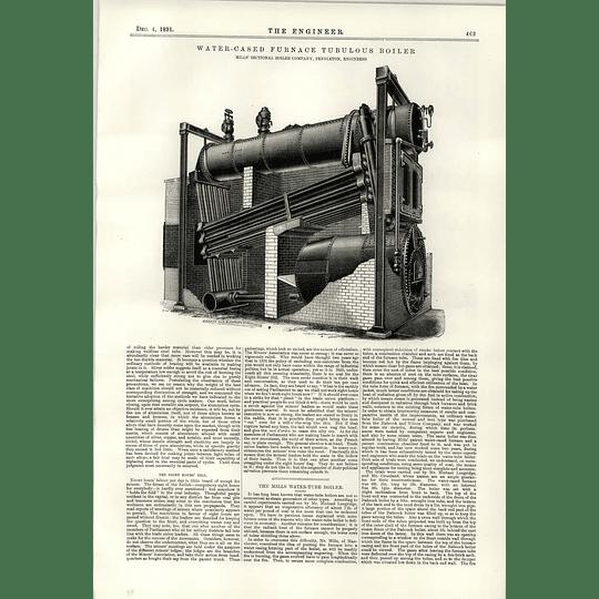 1891 Mills Water Cased Furnace Tubulous Boiler Pendleton Reveleys Dock Scheme