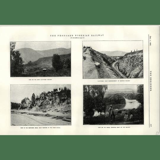 1891 Proposed Siberian Railway Zlatroosk Oofa Zlatovsk Gold River Evedel