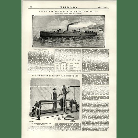 1891 High-speed Gunboat Water Tube Boiler Ingersoll Sergeant Bar Channeler