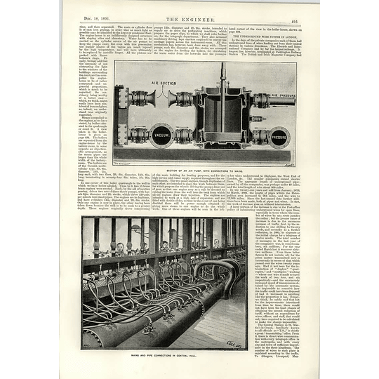 1891 Telegraph System Air Pump Pipe Connections Pneumatic Tubes