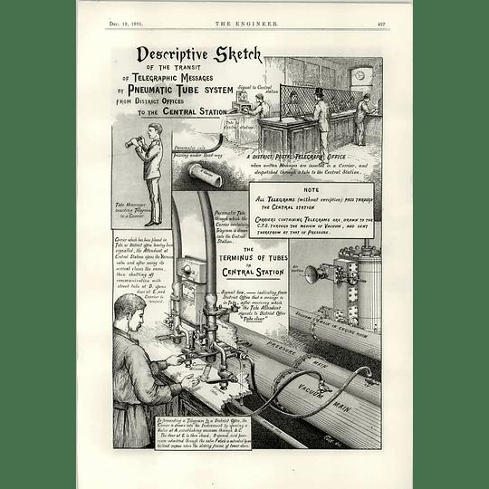 1891 Telegraph System Descriptive Sketch Pneumatic Tube System Central
