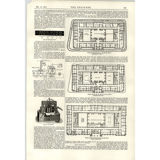 1891 Telegraph System Tickertape Transmitter Receiver Floorplans