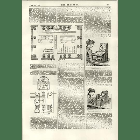 1891 Telegraph System Wheatstone's Automatic Apparatus Greenwich Time Distributor