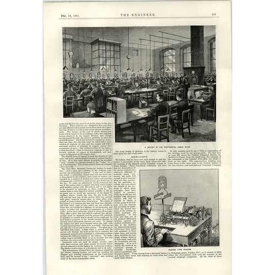 1891 Continental Cable Room Hughes Type Printer Hexode Instruments