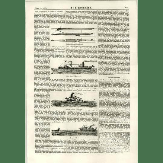 1891 The Simms Edison Electrical Torpedo Hm Battleship Thunderer