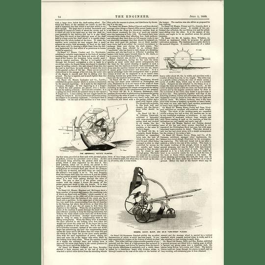 1889 Davey Sleep Turn Wrest Plough Aspenwall Potato Planter Dolberg Rail
