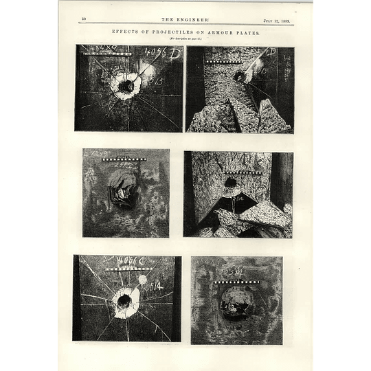 1889 Effects Of Projectiles On Armour Plates