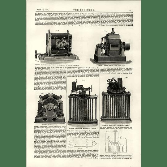1889 Thury Dynamo 2 Pole Potential Regulator Arc Lamp