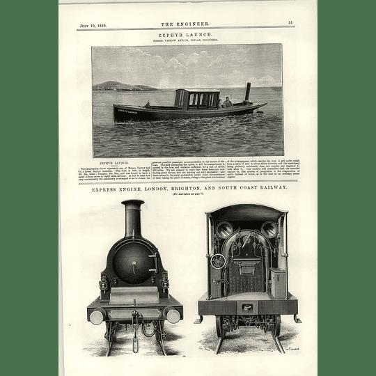 1889 Zephyr Launch Yarrow Express Engine South Coast Railway