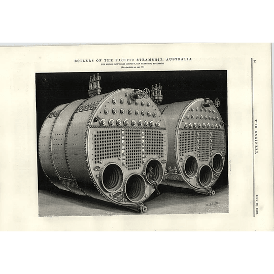 1889 Pacific Steamship Australia Huge Boilers Risdon Ironworks San Francisco