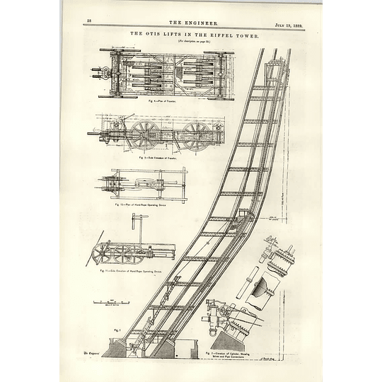 1889 The Otis Lifts In The Eiffel Tower Diagrams