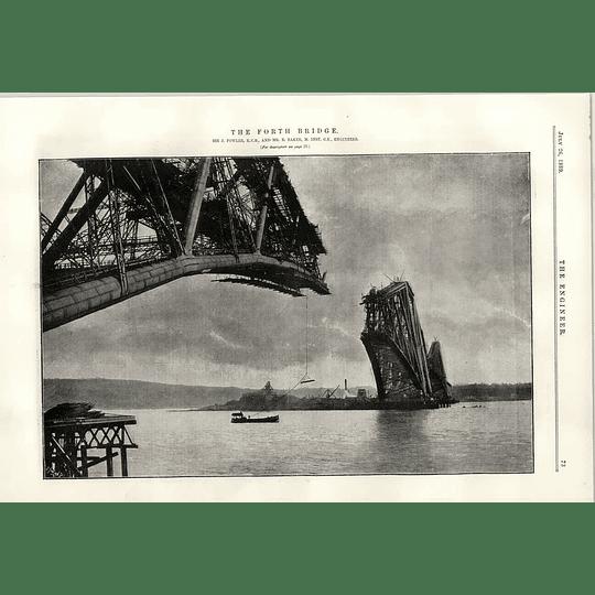 1889 The Forth Bridge Under Construction Boat Mid River