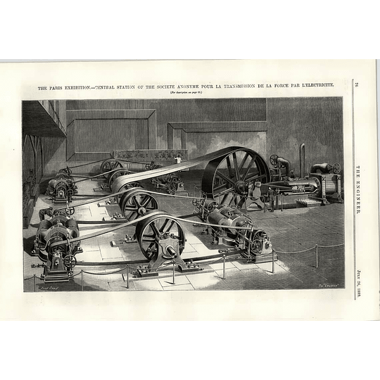 1889 Central Station Societe Anonyme Transmission Force Electricite Illustration