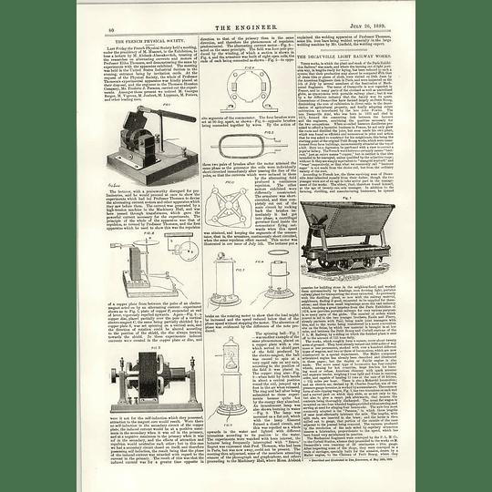 1889 Alternating Current Motors Paris Decauville Light Railway Works