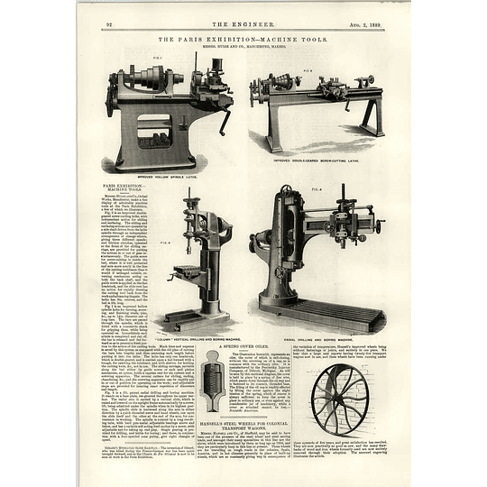 1889 Handell Sheffield Colonial Transport Hulse Drilling And Boring Machine