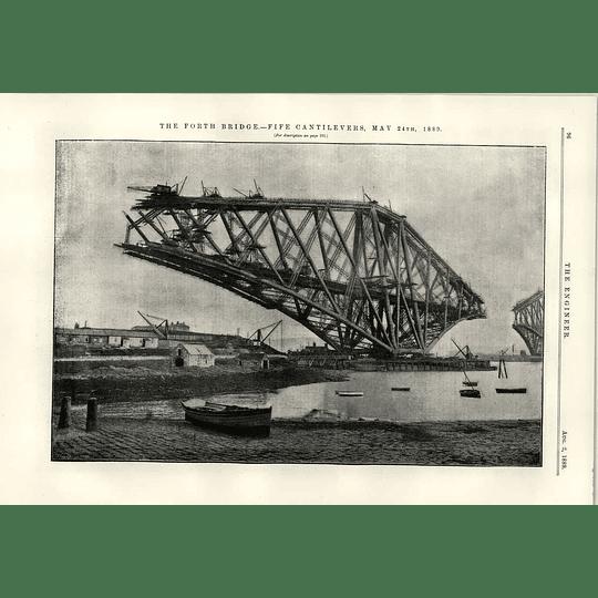 1889 Forth Bridge Fife Cantilevers Under Construction