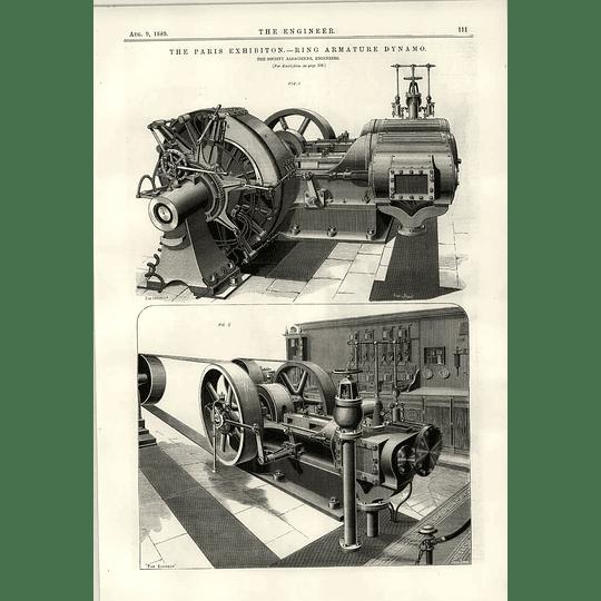 1889 Society Alsacienne Ring Armature Dynamo Small Motors