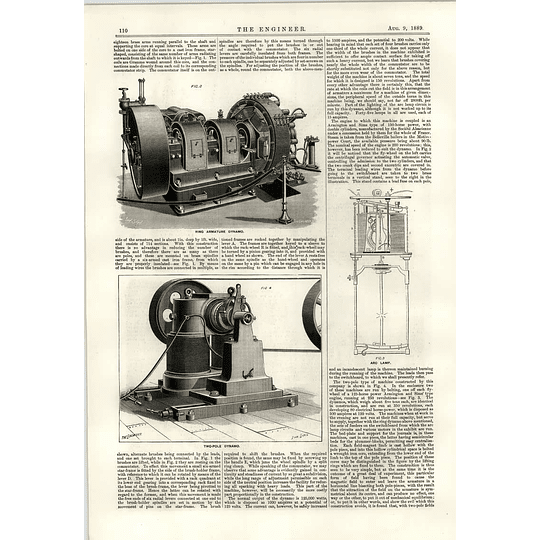 1889 Place Clichy Ring Armature Dynamo Arc Lamp