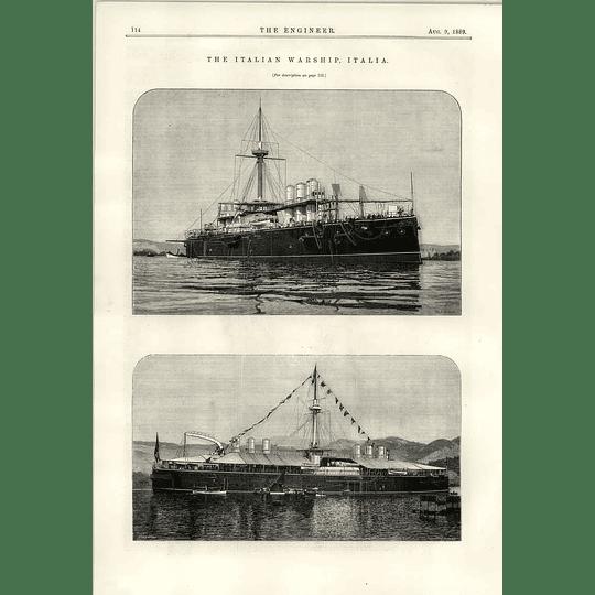 1889 The Italian Warship Italia Illustrations