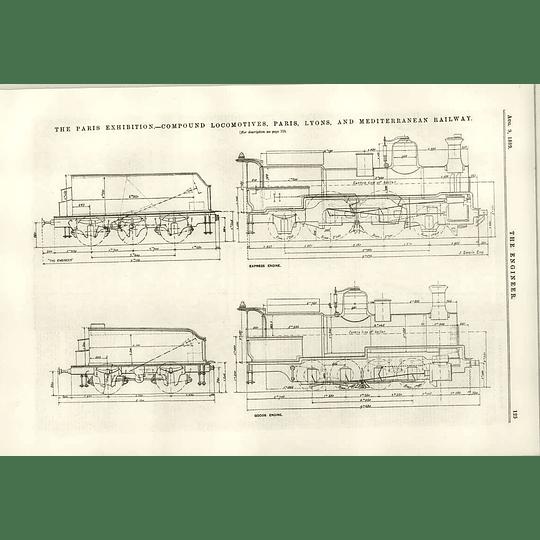 1889 Compound Locomotives Paris Lyon Mediterranean Railway