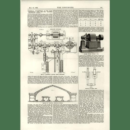 1889 10 Ton Electric Travelling Cranes Bon Lustremant