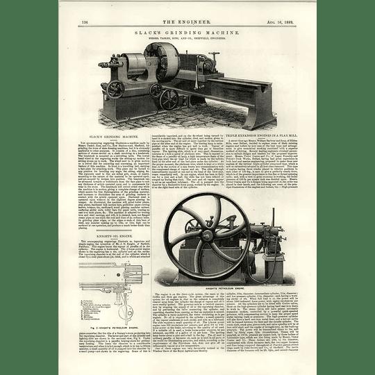 1889 Slack Grinding Machine Tasker Sheffield Knights Petroleum Engine