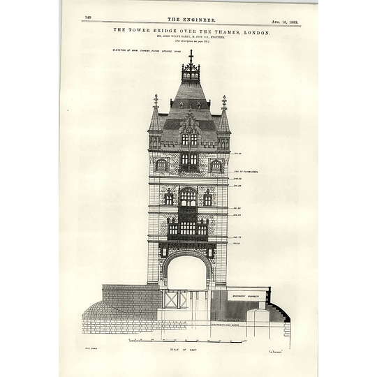 1889 Tower Bridge Over The River Thames John Wolfe Barry Elevation