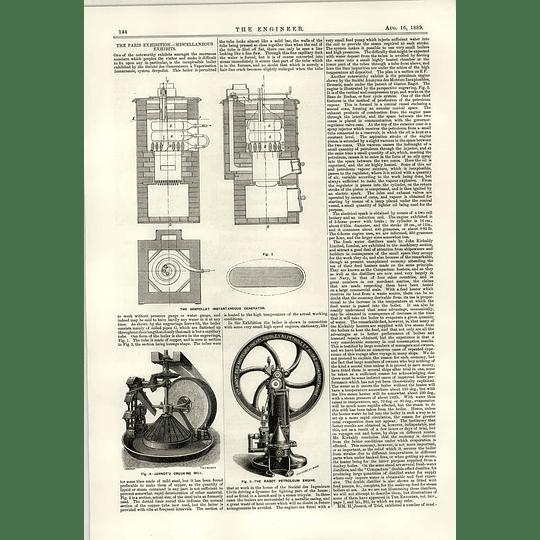 1889 Ragot Petroleum Engine Jannot Crushing Mill Serpollet Generator