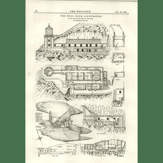 1889 The Bull Rock Lighthouse W Douglas Diagrams