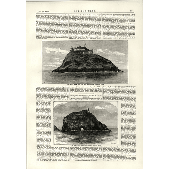 1889 The Bull Rock And New Lighthouse Map Of Site Acheson Generator