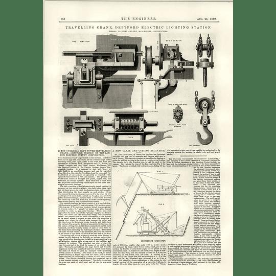 1889 25 Ton Overhead Rope Power Travelling Crane Schrabetz Canal Excavator