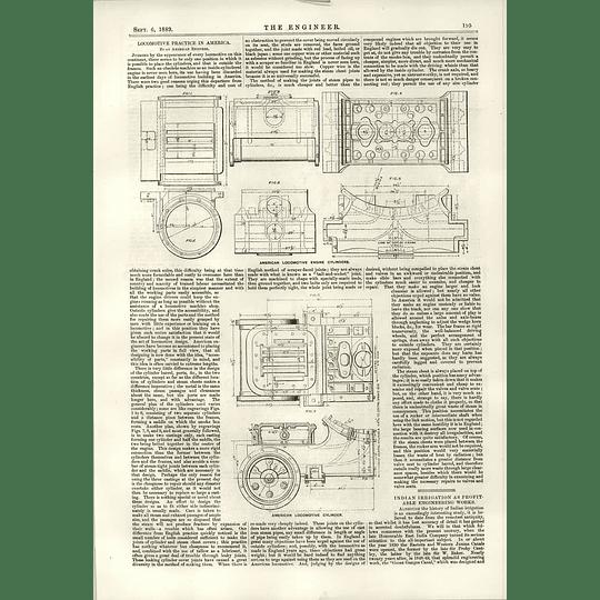 1889 American Locomotive Engine Cylinders Indian Irrigation