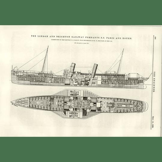 1889 Ss Paris And Rouen Fairfield Glasgow W Stroudley Designs