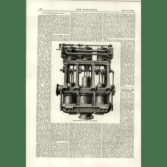 1889 Steam Pumps Hms Sultan Baghino Rays Vessel Lighterage Wharf Thames