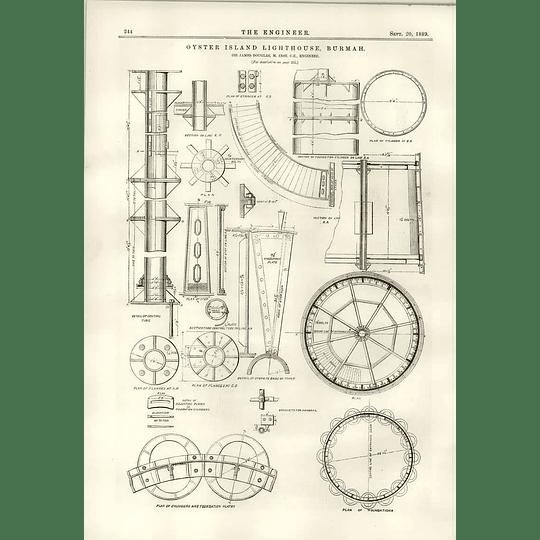 1889 Oyster Island Lighthouse Burmah Sir James Douglas