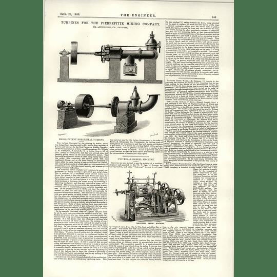 1889 Arthur Rigg Turbine Pierrefitte Mining Company Universal Barrel Machine