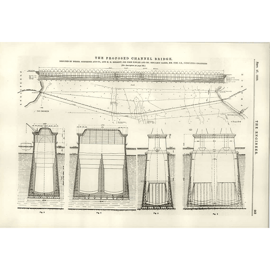 1889 Proposed Bridge Across English Channel Diagrams Foundations Hersent