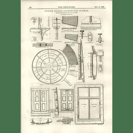 1889 Oyster Island Lighthouse Burmah Plan Of Lantra Channel Bridge Plans