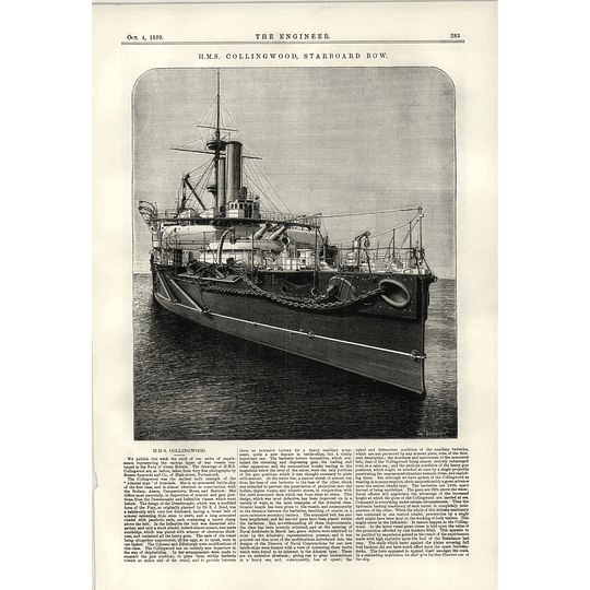 1889 Hms Collingwood Starboard Bow Channel Bridge Preliminary Designs