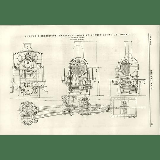 1889 Express Locomotive Chemin De Fer De L'ouest