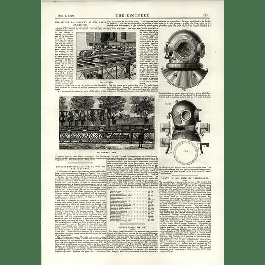 1889 Hydraulic Railway Paris Stoves Diving Helmet