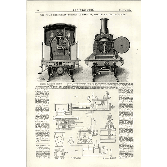 1889 Express Locomotive Illustrations Chemin De Fer De L'ouest