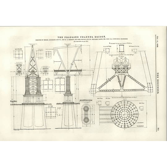 1889 Proposed Channel Bridge Diagrams Foundations Pillar Struts Spans