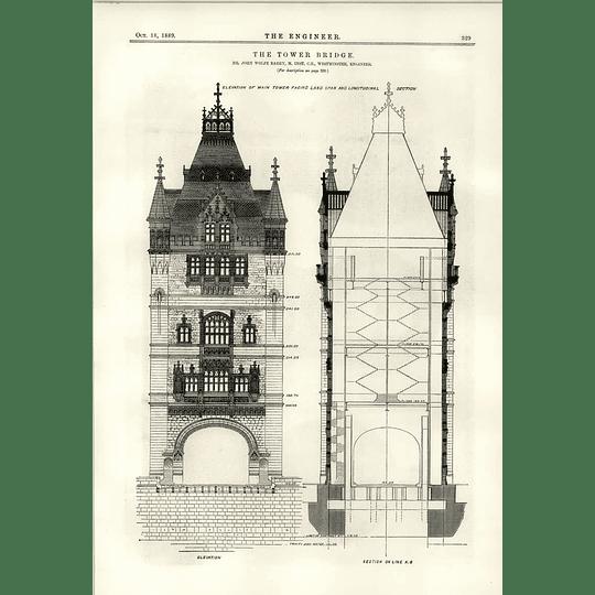 1889 The Tower Bridge Elevation Facing Land The Cardium John Gamgee