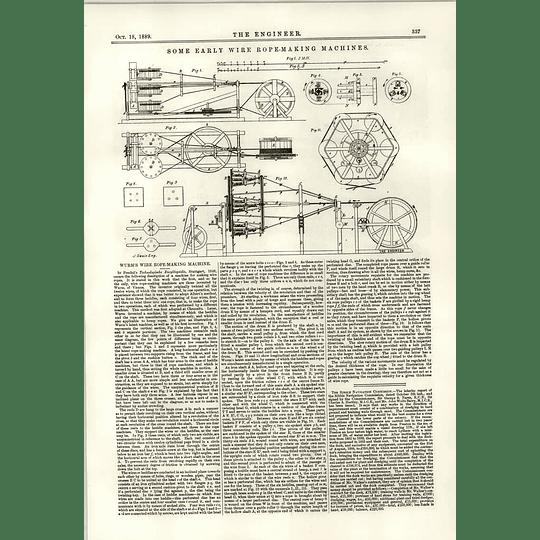 1889 Early Wire Rope Making Machine Wurm