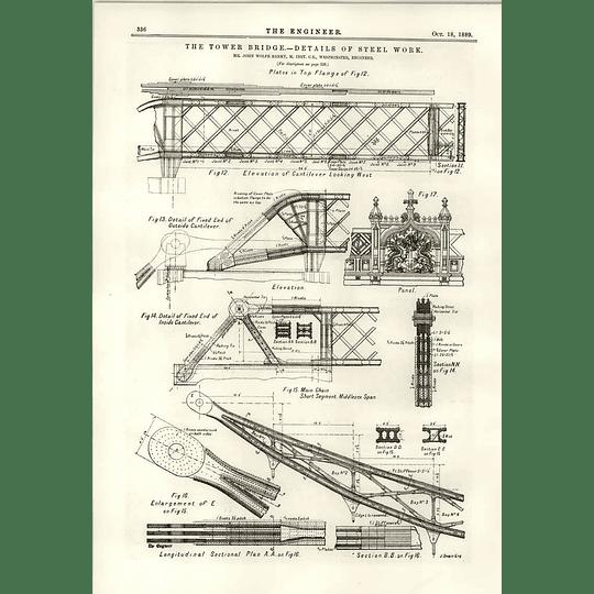 1889 Tower Bridge Details Of Steelwork Cantilevers Flange