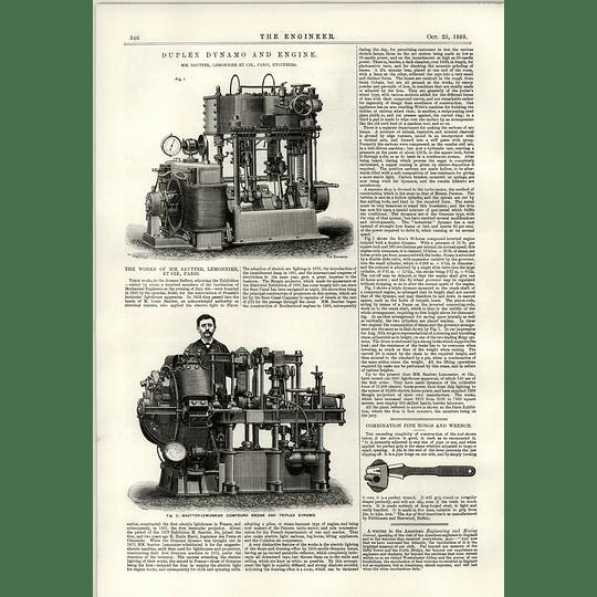1889 Duplex Dynamo And Machine Compound Triplex Sautter Lemonnier Cie Paris